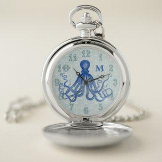 Reloj De Bolsillo Anclas náuticas del pulpo azul del vintage cones