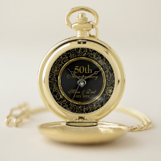 Reloj De Bolsillo Aniversario de boda elegante del negro y del oro