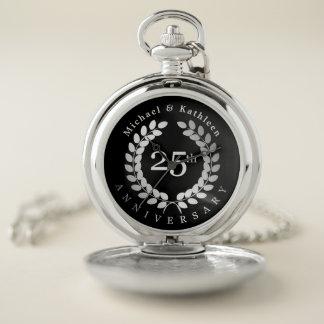 Reloj De Bolsillo Aniversario de la plata de la hoja del laurel