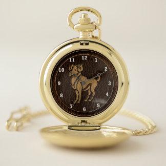Reloj De Bolsillo Aries de la Cuero-Mirada