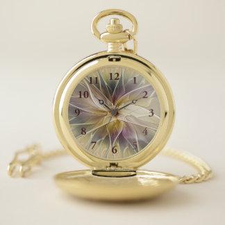 Reloj De Bolsillo Arte floral del fractal del extracto de la
