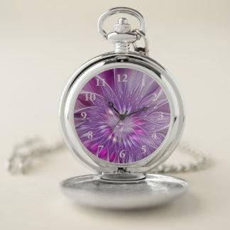 Reloj De Bolsillo Arte púrpura rosado del fractal del extracto de la