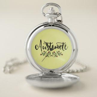 Reloj De Bolsillo Austenita floral amarilla de Jane Austen