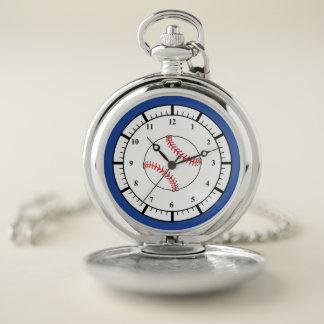 Reloj de bolsillo azul blanco rojo de los deportes