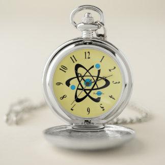 Reloj de bolsillo azul del diseño del átomo