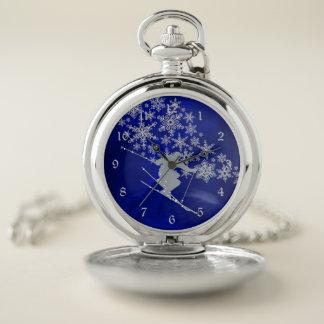 Reloj De Bolsillo Azul del esquiador de la nieve