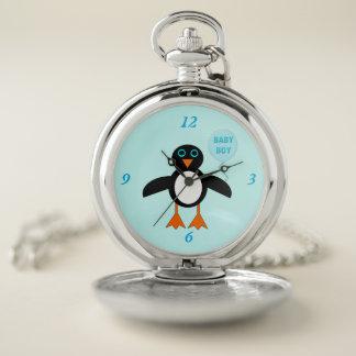 Reloj de bolsillo azul lindo del pingüino del bebé