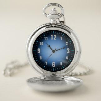 Reloj De Bolsillo Azules retros elegantes/el negro se descoloran