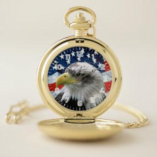 Reloj De Bolsillo Bandera americana calva patriótica de Eagle