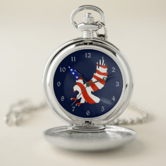 Reloj De Bolsillo Bandera americana patriótica Eagle