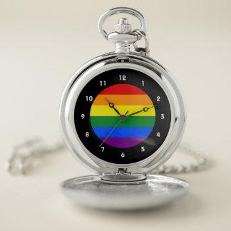 Reloj De Bolsillo Bandera del arco iris del orgullo gay de LGBT
