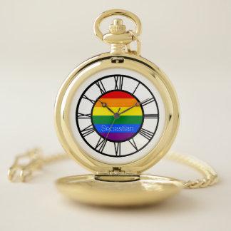 Reloj De Bolsillo Bandera LGBT del arco iris del orgullo gay