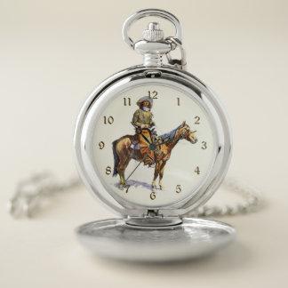 Reloj De Bolsillo Bella arte de Remington del vaquero de Arizona