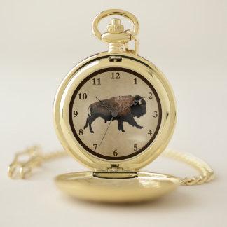 Reloj De Bolsillo Bisonte galopante en el papel viejo