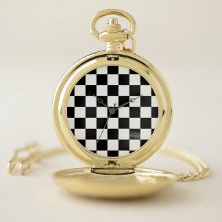 Reloj De Bolsillo Blanco a cuadros clásico del negro del control del