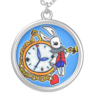 Reloj de bolsillo blanco del conejo colgante redondo