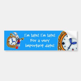 Reloj de bolsillo blanco del conejo pegatina para coche