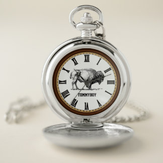 Reloj De Bolsillo Bsf americano del monograma del bisonte del búfalo