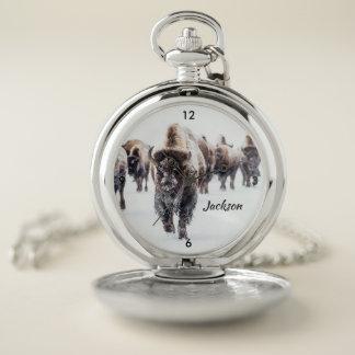 Reloj De Bolsillo Búfalo americano hermoso en nieve