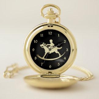Reloj De Bolsillo Caballo mecedora retro del oro