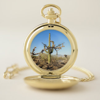 Reloj De Bolsillo Cactus del Saguaro en el desierto