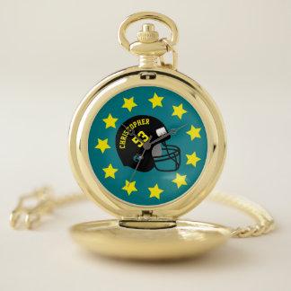 Reloj De Bolsillo Casco conocido personalizado amarillo de los