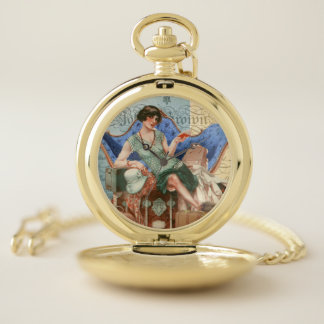 Reloj De Bolsillo Chica de la aleta del vintage en París