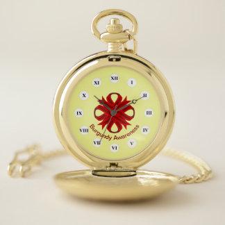 Reloj De Bolsillo Cinta del trébol de Borgoña (Rf) por K Yoncich
