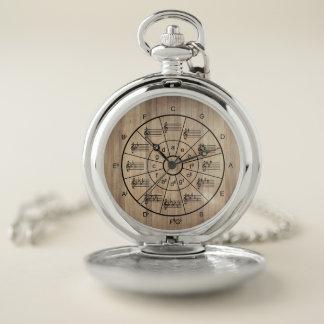 Reloj De Bolsillo Círculo de los músicos marrones del color de los