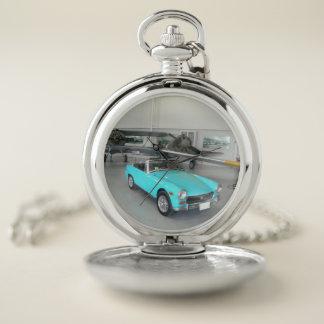 Reloj De Bolsillo Coche clásico azul brillante