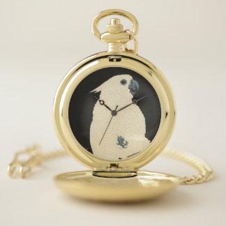 Reloj De Bolsillo Cockatoo blanco japonés de la impresión el | de la