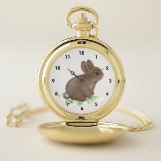 Reloj De Bolsillo Conejito adorable en trébol