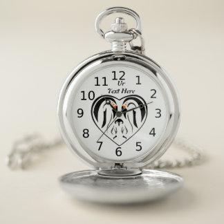 Reloj De Bolsillo Corazón del amor de la familia del pingüino de