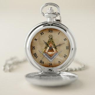 Reloj De Bolsillo Cuadrado y compás con todo el ojo que ve