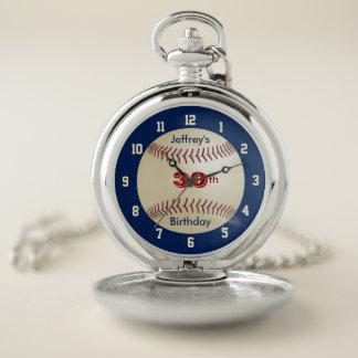 Reloj De Bolsillo Cumpleaños del béisbol personalizado con retro