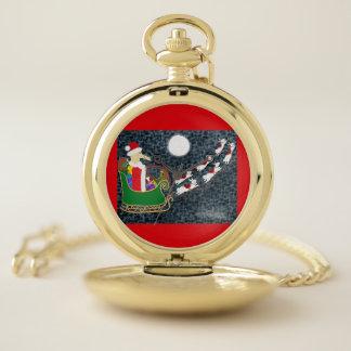 Reloj De Bolsillo Dachshund de Santa