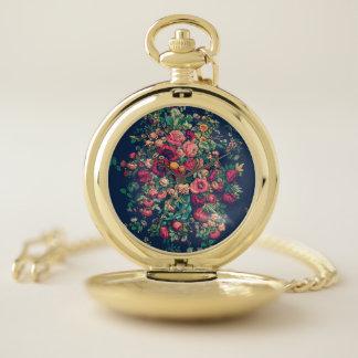 Reloj De Bolsillo Damasco azul clásico del color de los rosas del