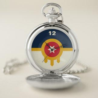 Reloj de bolsillo de la bandera de Tulsa