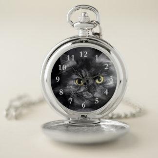 Reloj de bolsillo de la cara del gato