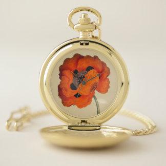 Reloj de bolsillo de la flor de la amapola