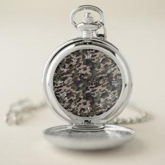 Reloj de bolsillo de la plata del camuflaje del