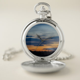 Reloj de bolsillo de la puesta del sol de la luna