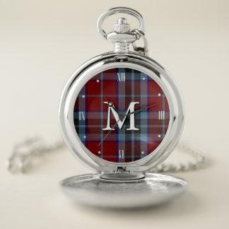 Reloj de bolsillo de la tela escocesa de tartán de