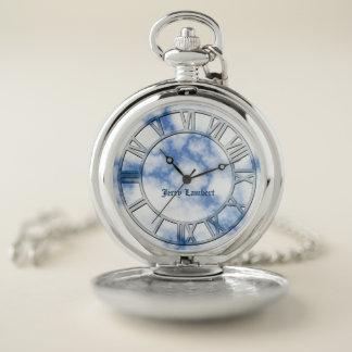 Reloj de bolsillo de mármol azul de la firma