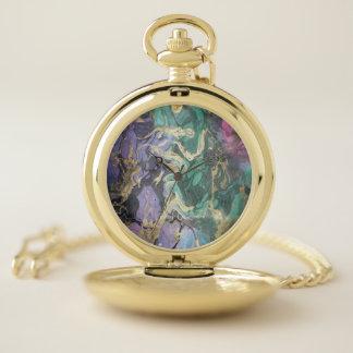 Reloj de bolsillo de mármol colorido