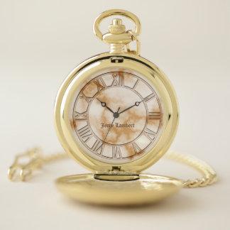 Reloj de bolsillo de mármol de la firma del oro
