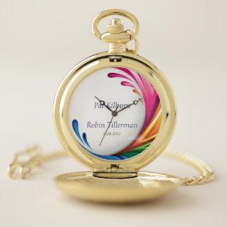 Reloj De Bolsillo De oro del boda con monograma del chapoteo del