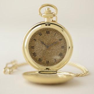 Reloj de bolsillo de oro elegante del purpurina