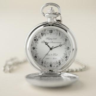 Reloj de bolsillo del aniversario de la plata del