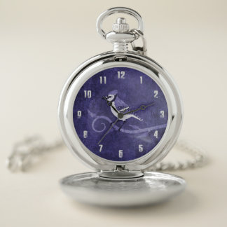 Reloj de bolsillo del arrendajo azul